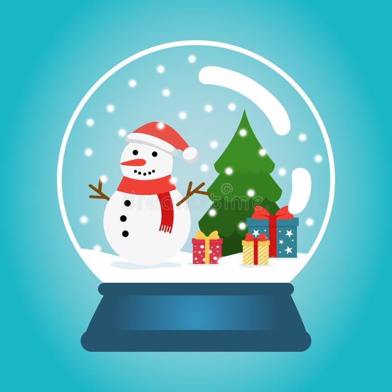 Bola de la Navidad con nieve, el muñeco de nieve y un árbol de navidad Globo de la nieve con las cajas de regalo Ejemplo del vect ilustración del vector