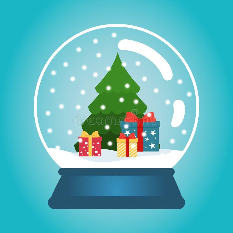 Bola de la Navidad con nieve y un árbol de navidad Globo de la nieve con las cajas de regalo Ejemplo del vector de la Navidad del stock de ilustración