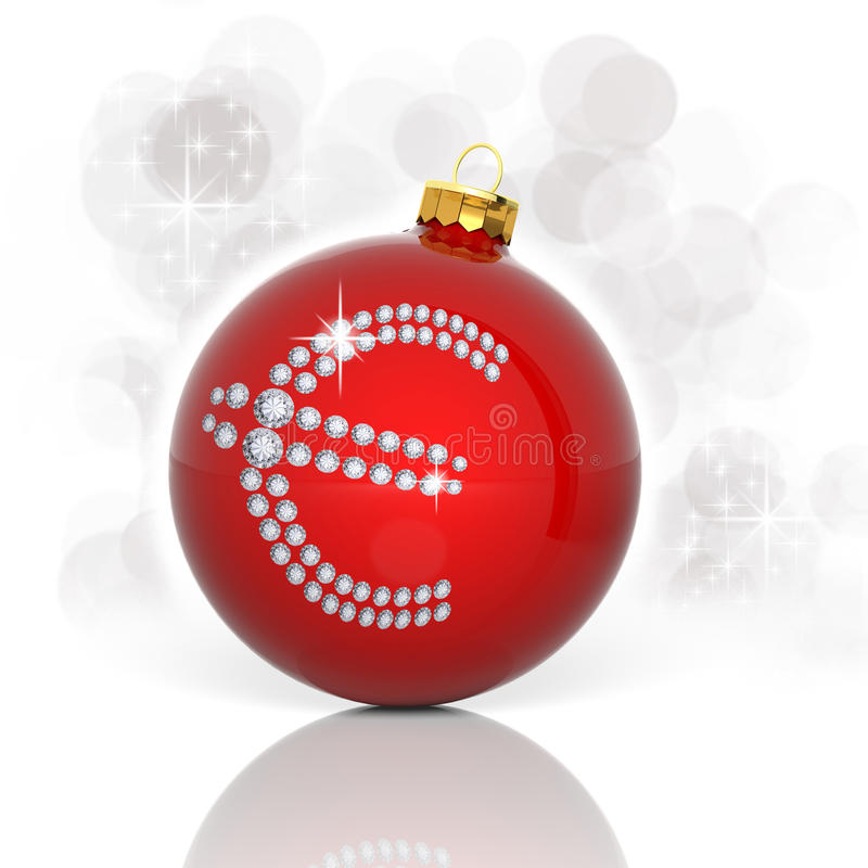 Bola de la Navidad con símbolo euro ilustración del vector