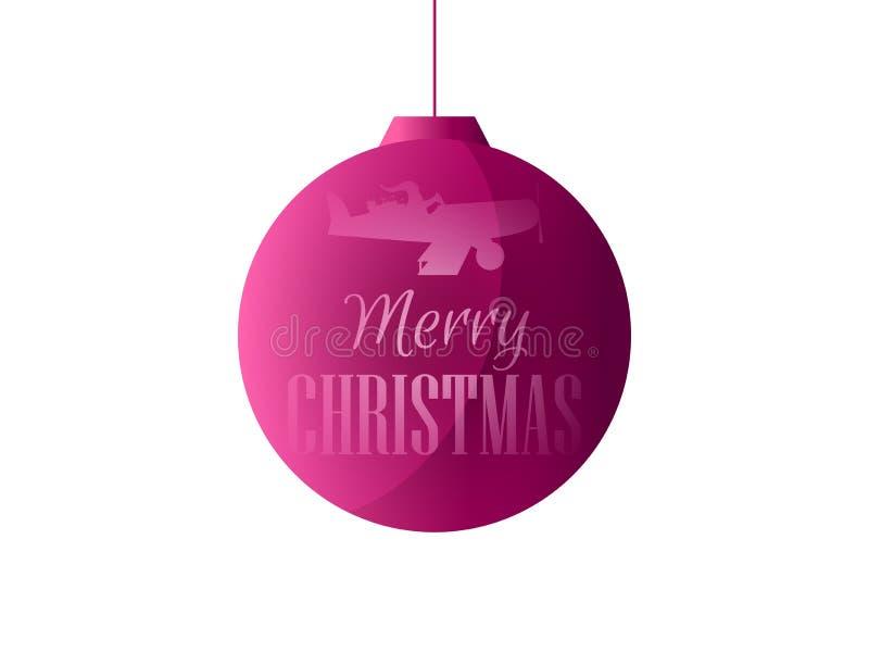Bola de la Navidad con Santa Claus en el avión Aislado en el fondo blanco Vector stock de ilustración