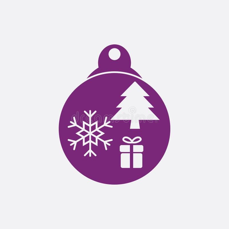Bola de la Navidad con vector plano del icono del copo de nieve icono de la bola de Navidad stock de ilustración