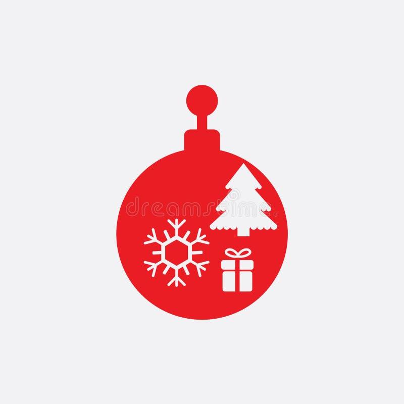 Bola de la Navidad con vector plano del icono del copo de nieve icono de la bola de Navidad libre illustration