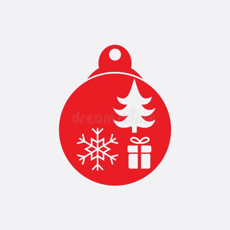 Bola de la Navidad con vector plano del icono del copo de nieve icono de la bola de Navidad ilustración del vector