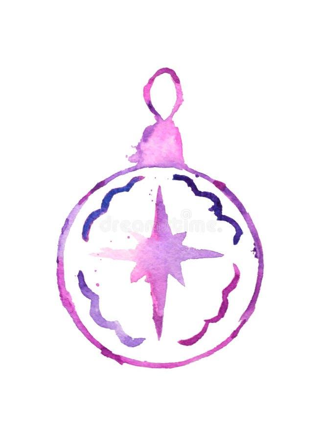 Bola de la Navidad de la acuarela con la estrella, ejemplo dibujado mano, elemento festivo del diseño, icono stock de ilustración