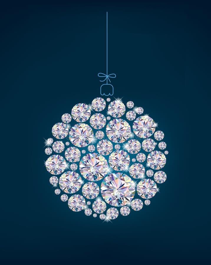 Bola de la Navidad del diamante en fondo azul ilustración del vector