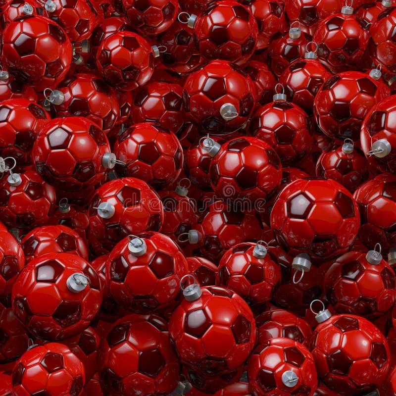 Bola de la Navidad del fútbol stock de ilustración