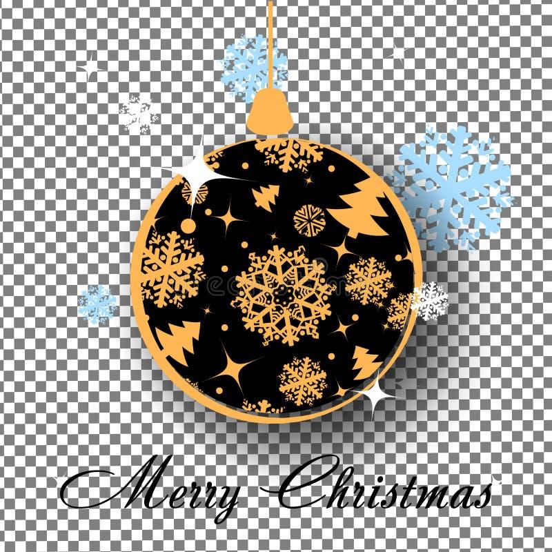 Bola de la Navidad del oro con el arco en fondo transparente Juguete de la Navidad del día de fiesta para el árbol de abeto ilustración del vector