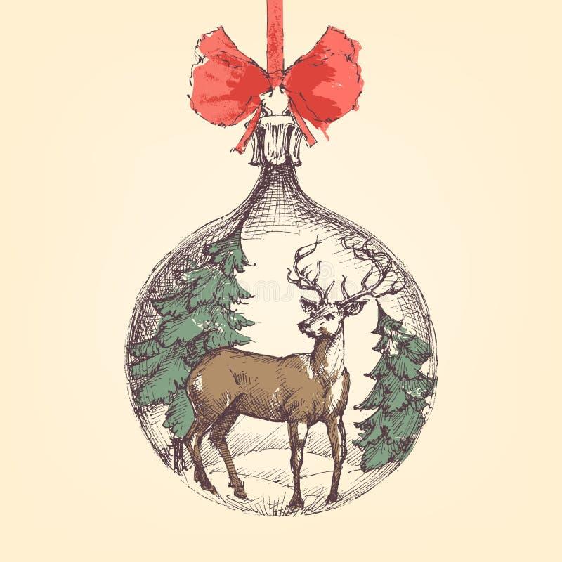 Bola de la Navidad del vintage stock de ilustración