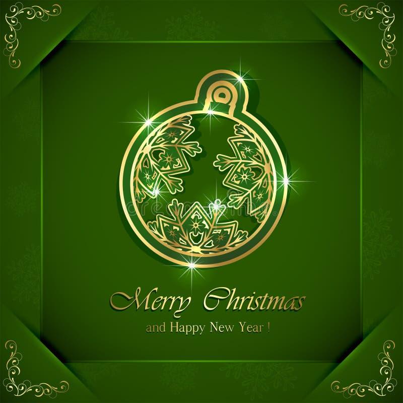 Bola de la Navidad en fondo verde stock de ilustración