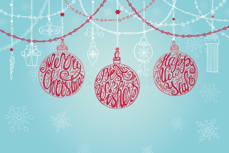 Bola de la Navidad, guirnaldas Invitación del Año Nuevo ilustración del vector