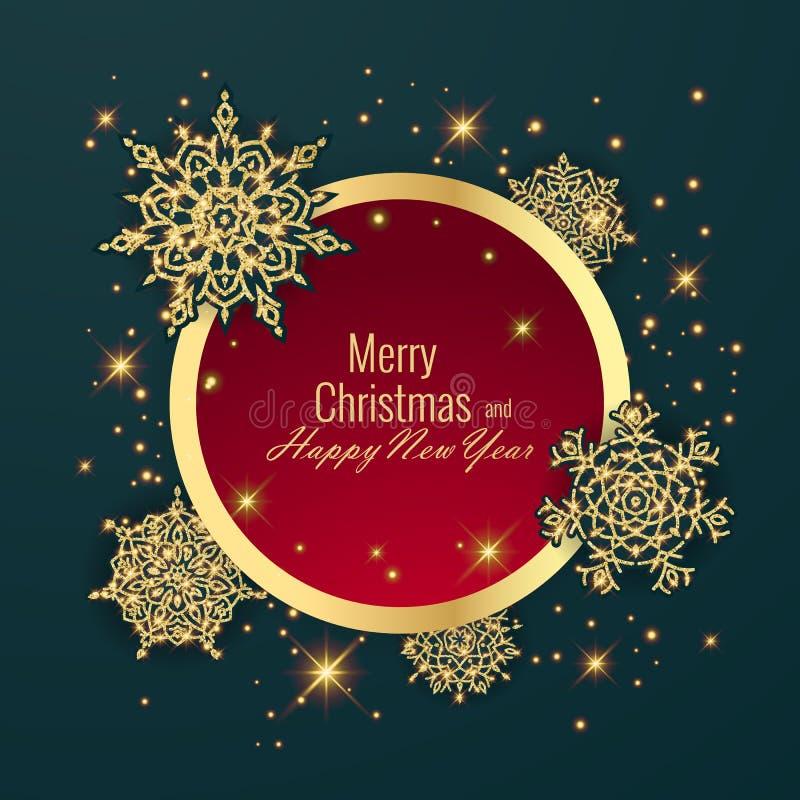 Bola de la Navidad, marco redondo del día de fiesta Tarjeta de felicitación de la Feliz Año Nuevo ilustración del vector