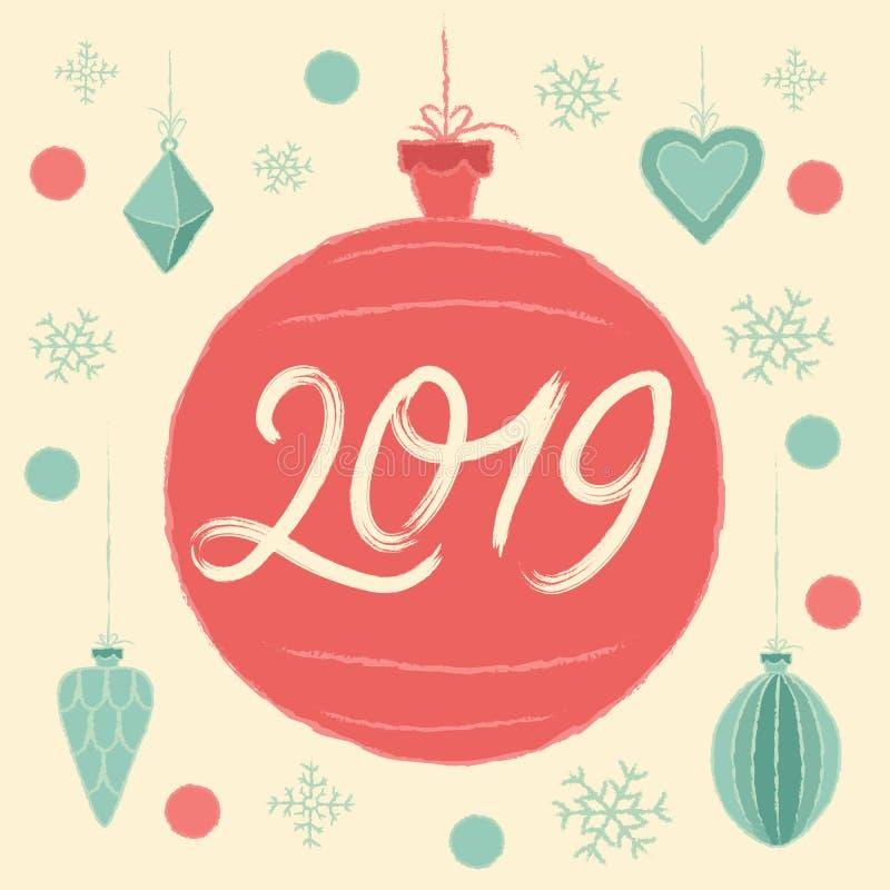 Bola 2019 de la Navidad Tarjeta de felicitación de la Feliz Navidad y de la Feliz Año Nuevo libre illustration
