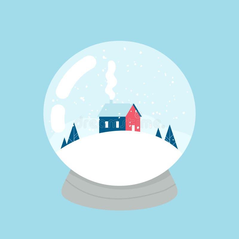 bola de la nieve Casa, bosque y montañas dentro Vector ilustración del vector