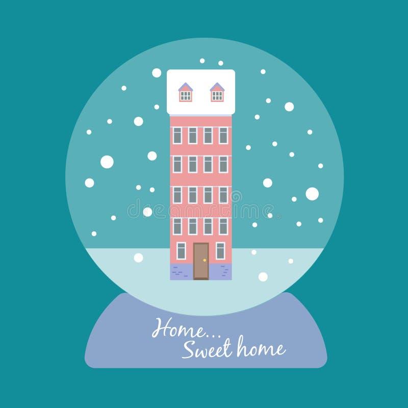 Bola de la nieve del vector con una casa de varios pisos fotografía de archivo libre de regalías