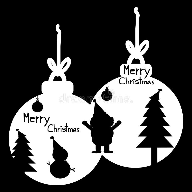 Bola de la tarjeta de la Feliz Navidad, de felicitación de la Navidad, de la silueta Santa Claus, del muñeco de nieve, del árbol  libre illustration