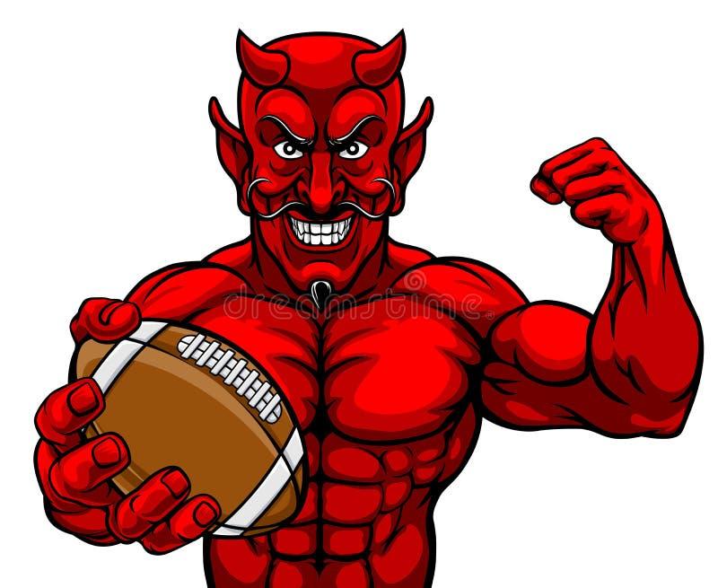 Bola de la tenencia de la mascota de los deportes del fútbol americano del diablo libre illustration