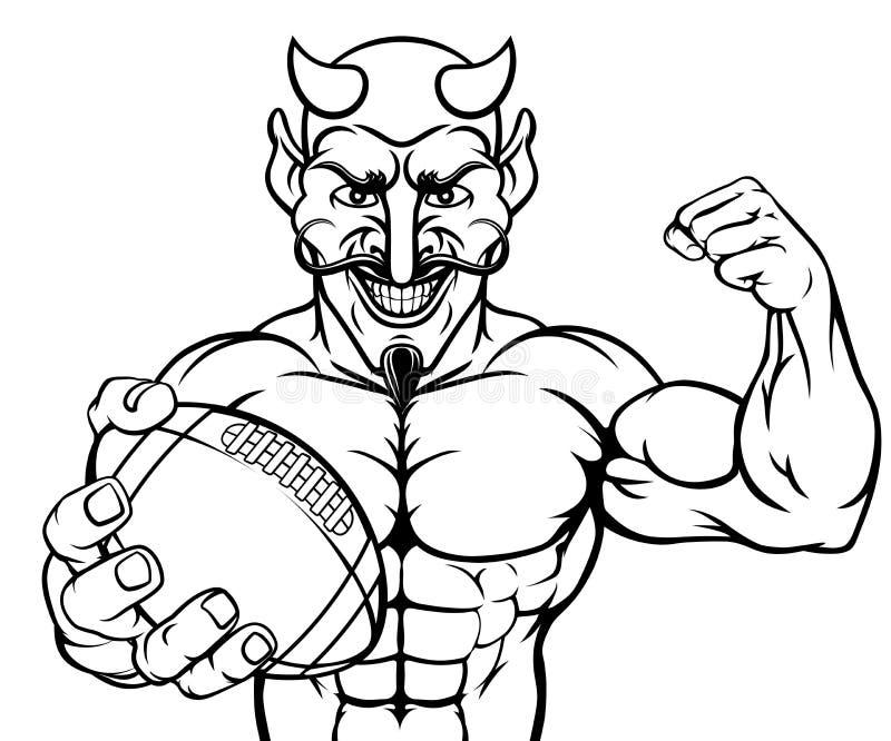 Bola de la tenencia de la mascota de los deportes del f?tbol americano del diablo ilustración del vector