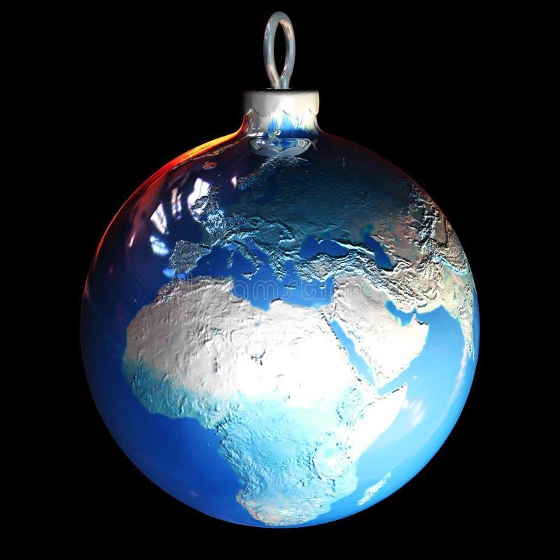 Bola de la tierra de la Navidad stock de ilustración