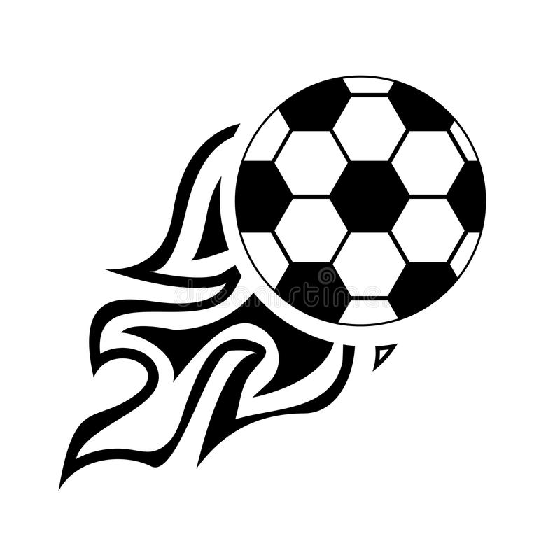 Bola de Logo Design Element do fogo do futebol, fogo, futebol, chama, queimadura, projeto, futebol, ilustração royalty free
