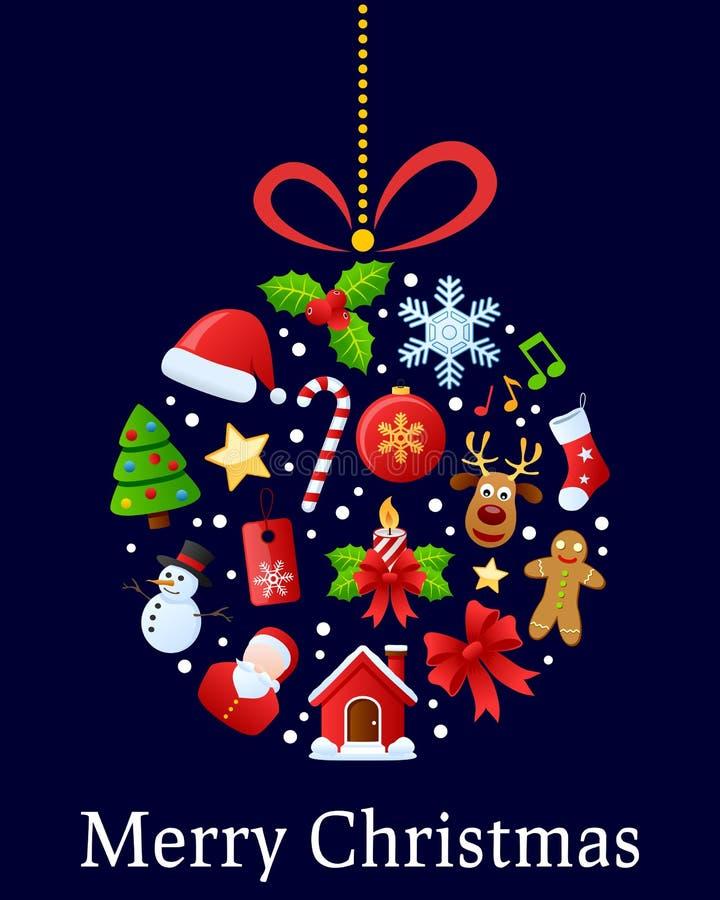 Bola de los iconos de la Navidad stock de ilustración