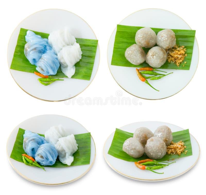 Bola de masa hervida cocida al vapor tailandesa de la piel del arroz con las bolas de la tapioca foto de archivo libre de regalías