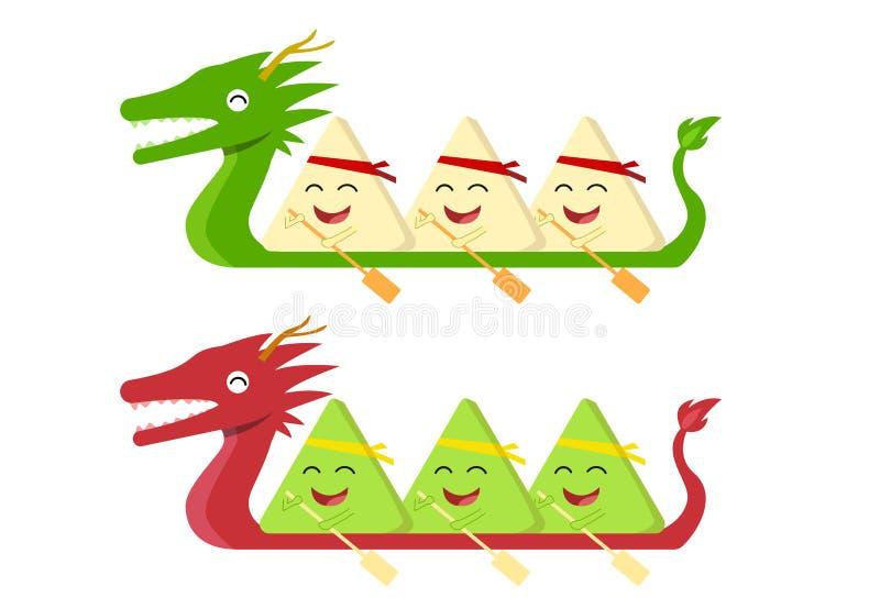 Bola de masa hervida del arroz en el barco del dragón en el blanco, vector stock de ilustración