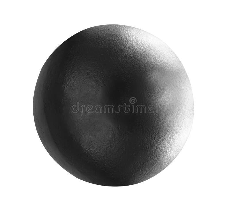 Bola de metal aislada en blanco fotos de archivo