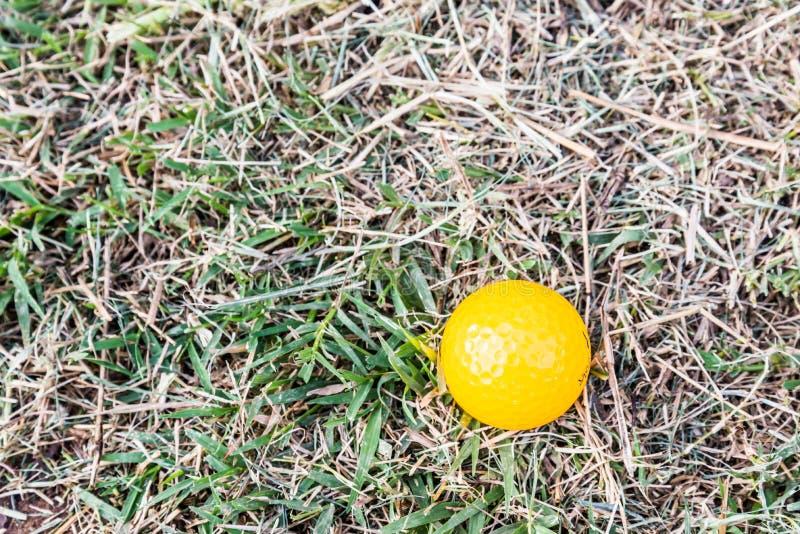 Bola de mini golfe amarela no áspero fotografia de stock royalty free