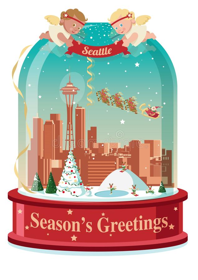 A bola de neve de cumprimento da estação de Seattle ilustração royalty free