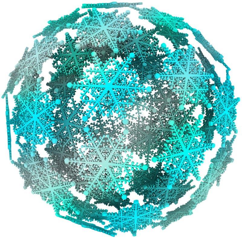 Bola de neve do símbolo do inverno da esfera da bola do floco de neve 3D ilustração do vetor