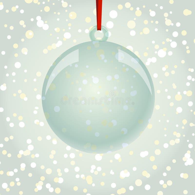Bola de NewYear do Natal com a fita que pendura no backgro dos flocos de neve ilustração do vetor