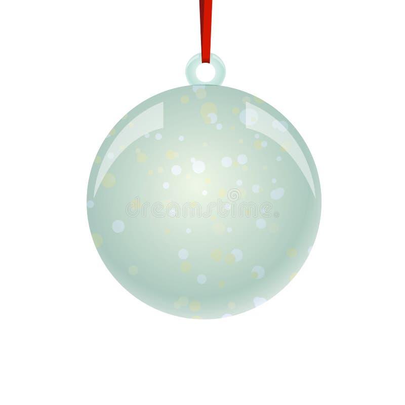 Bola de NewYear do Natal com suspensão da fita ilustração stock