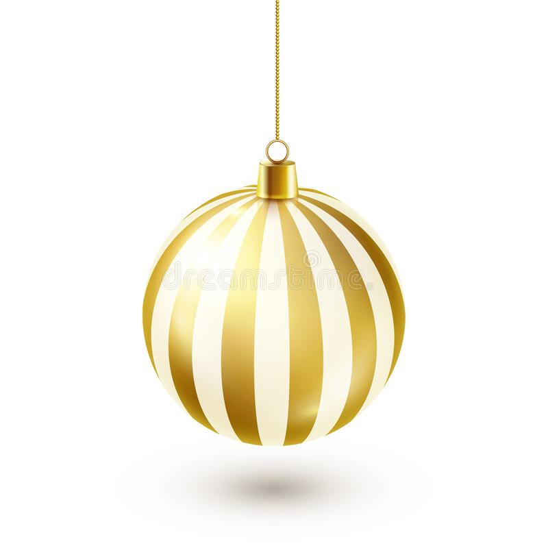Bola de oro brillante del árbol de navidad Decoración del Año Nuevo Estación del invierno Días de fiesta de diciembre Saludo de l stock de ilustración