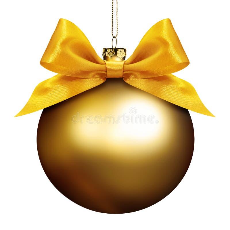 Bola de oro de la Navidad aislada en blanco fotografía de archivo