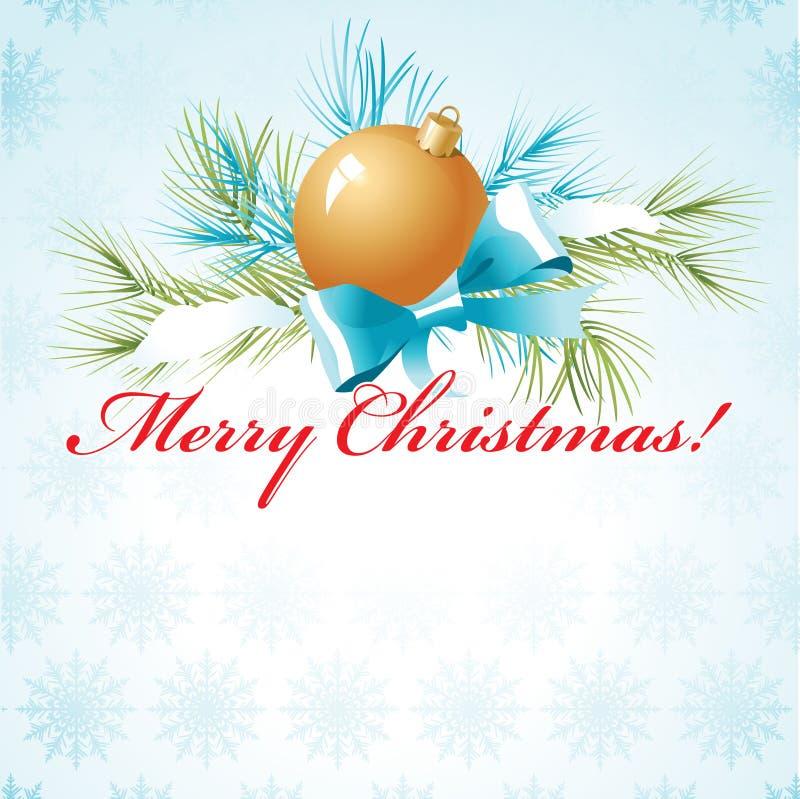 Bola de oro en la rama de un árbol de navidad con nieve ilustración del vector