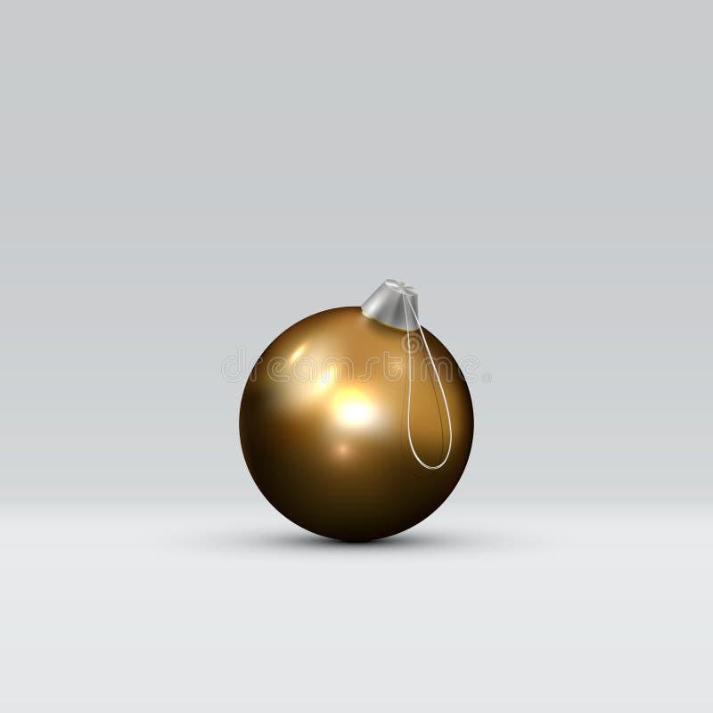bola de oro de la Navidad 3d en un fondo abstracto ligero Elemento realista del diseño de Navidad del oro ilustración del vector
