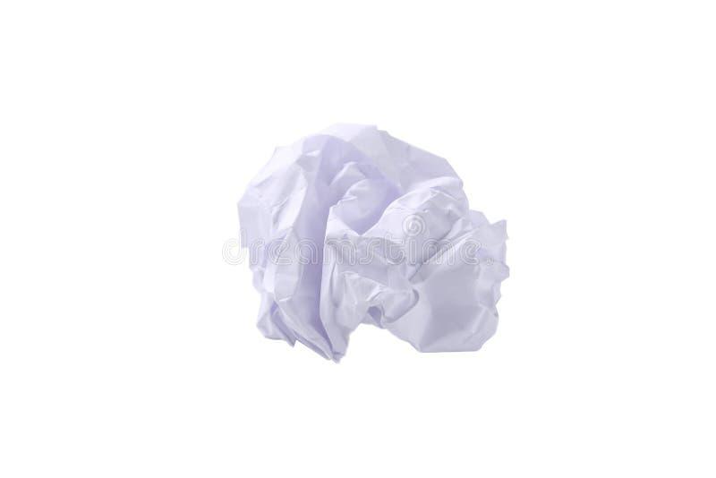 Bola de papel amarrotada isolada no branco com trajeto de grampeamento fotos de stock royalty free