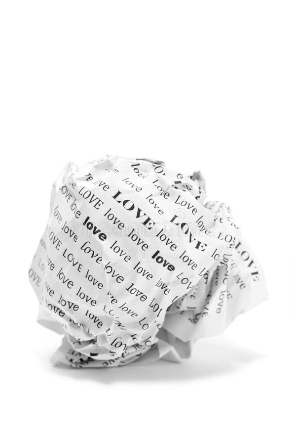 Bola de papel do amor no fundo branco imagens de stock royalty free