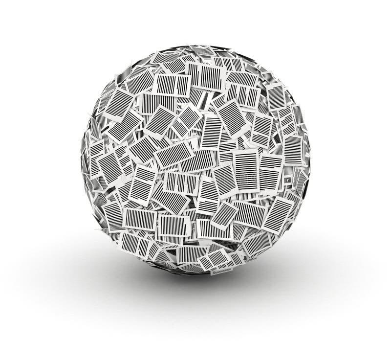 Bola de papel enorme do papel 3d isometry ilustração stock