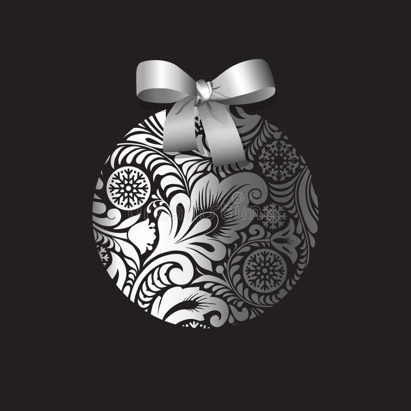 Bola de plata de la Navidad con un modelo escarchado del invierno libre illustration
