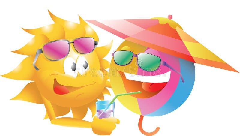 Bola de playa con el sol libre illustration