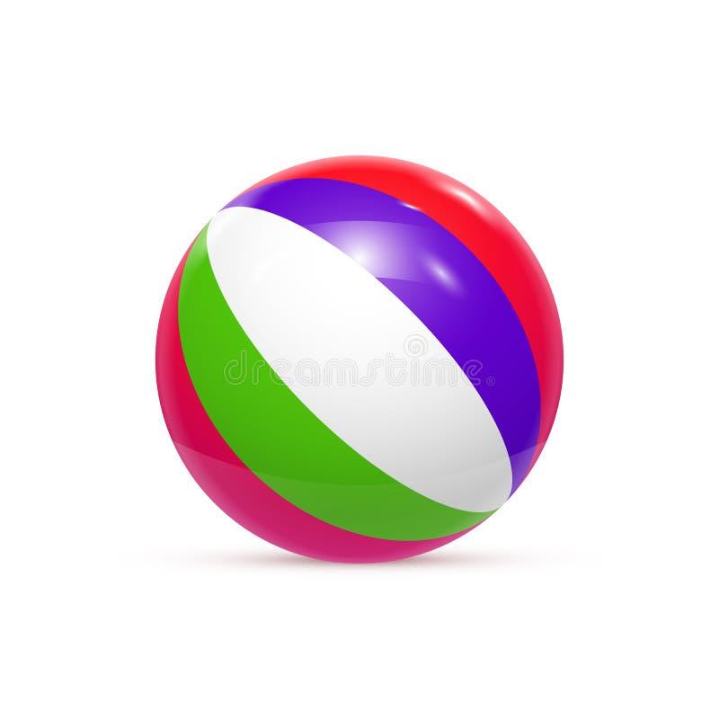 Bola de praia isolada no vetor branco do fundo ilustração royalty free