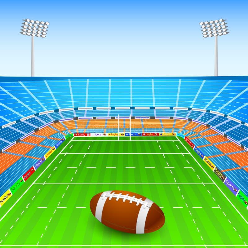 Bola de rugbi en estadio stock de ilustración