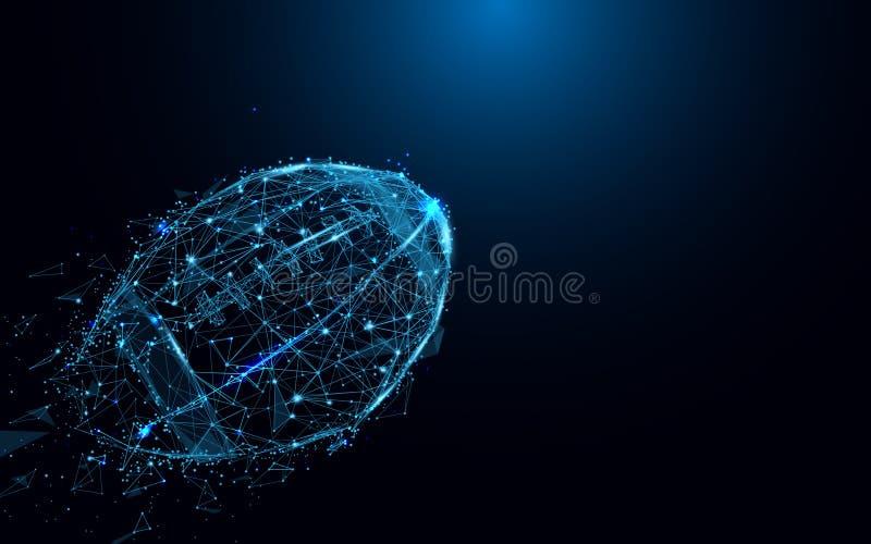 Bola de rugby abstrata das linhas e dos triângulos, rede de conexão do ponto no fundo azul ilustração royalty free