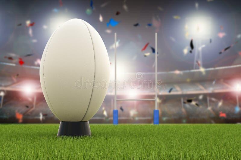 Bola de rugby com cargos do rugby no campo ilustração do vetor