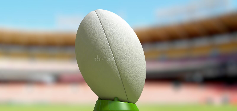Bola de rugby em um dia do estádio foto de stock royalty free