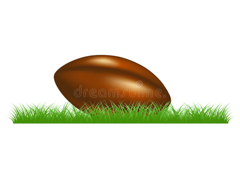 Bola de rugby retro que encontra-se na grama ilustração stock