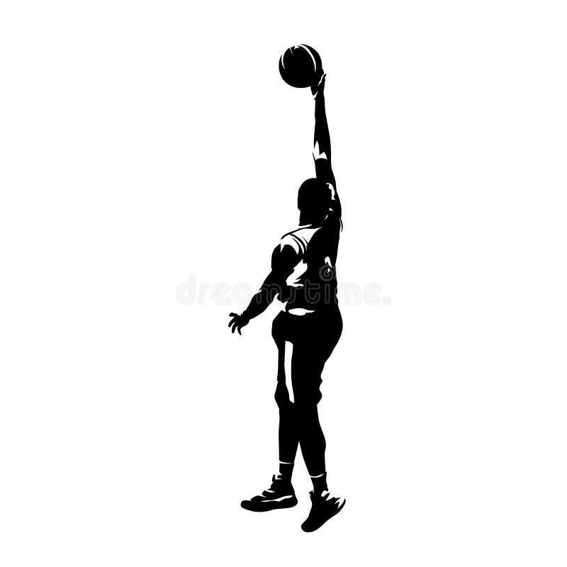 Bola de salto e de tiro do jogador de basquetebol, silhoutte do vetor ilustração royalty free