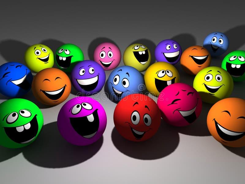 bola de sorriso varicoloured do grupo da ilustração 3D ilustração stock