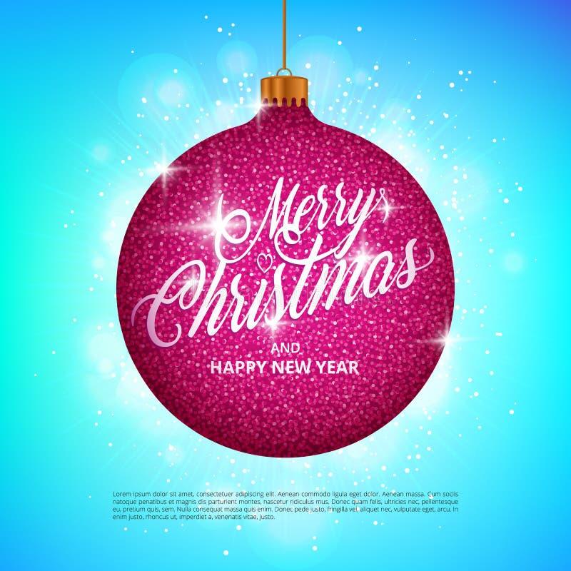 A bola de suspensão do Natal com brilho efervescente do metal efetua e Feliz Natal que rotula no fundo colorido ilustração stock